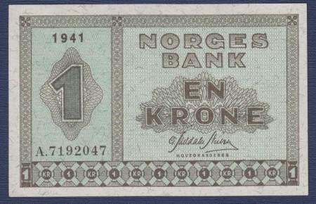 1 krone Type II 1940 - 1950