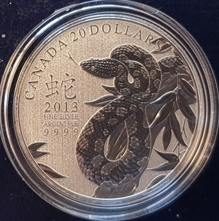 Canada: 2013 $20 fine silver coin - Year of the snake