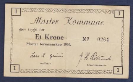 Nødsedler utstedt i 1940